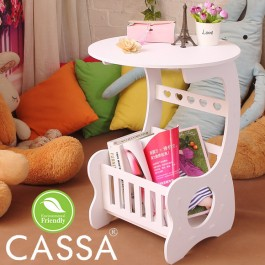 Cassa Frenchi Coffee Magazine Rack Round End Side Table (White) Round Diameter 36CM