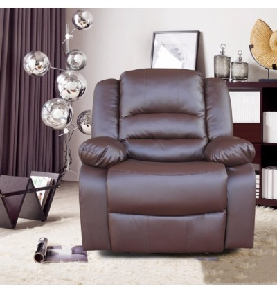 Cassa Altis PU Leather Recliner Armchair Lounge Chair Sofa Reclining Ergonomic Dark Brown