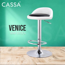 Cassa 360 Swivel Height Adjustable Bonded Leather Venice Bar Chair White/Black/Black+White