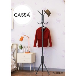 Cassa Edge Coat Hanger Rack Stand 8 Hooks Hanging Pole Entryway Hat Purse Display Hall Tree Metal Black Finish