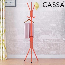 Cassa Edge Coat Hanger Rack Stand 6 Hooks Hanging Pole Entryway Hat Purse Display Hall Tree Metal Orange Finish