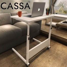 Cassa Sevil Mobile Height-Adjustable Table 60cmX40cm with Wheels Laptop Computer Desk Only (Maple/White/Wenge Black)