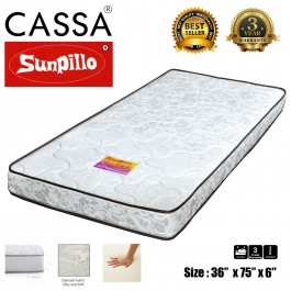 [3 Years Warranty] Cassa Sunpillo High Density Rubber Foam Rebond Thick 6 Inch Single/Super Single Mattress Only