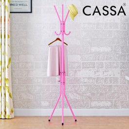 Cassa Edge Coat Hanger Rack Stand 6 Hook Hanging Pole Entryway Hat Purse Display Hall Tree Metal Pink Finish