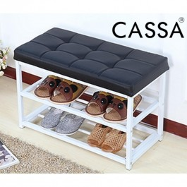 Cassa  Metal Shoe Bench 2-Tier Shoe Rack Entryway Leather Top Black White
