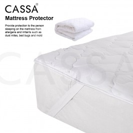 Cassa Single/Super Single/Queen/King Washable Thin Mattress Quilted Fitted Protector (Four flexible strips at corner) Fitted Bedding Sheet