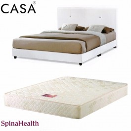 Cassa Nice Beige White Queen Bed Frame With Spinahealth Queen Thick 10 inch Ishape Posture Spring Mattress (Mattress with 10 years Warranty)