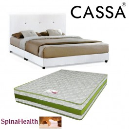 Cassa Nice Beige White Queen Bed Frame With Spinahealth 8 Inch Queen Posture I-Spring Mattress (Mattress QC Checked)