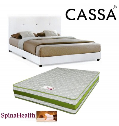 Cassa Nice Beige White Queen Bed Frame With Spinahealth By Goodnite 8 Inch Queen Posture I-Spring Mattress (Mattress QC Checked)