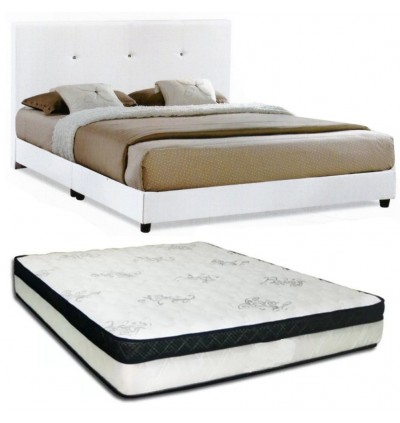 Cassa Nice Beige/Dark Brown Queen Bed Frame With Goodnite Spinahealth Thick 10 inch Posture idream Queen Spring Mattress