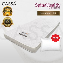 3 Years Warranty Spinalhealth by Goodnite [Advanced Level Super Firm] 4.5 inch I-Foam Single High Quality Compact Rubber Foam Rebond Mattress With Free Pillow