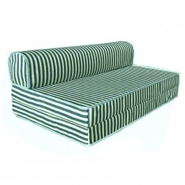 Cassa Mimo Foldable Queen 6 Inch Thick Foam Mattress / 2 Seater Sofa Bed 4 In 1 (Green Stripe)