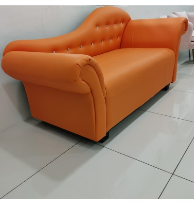 Cassa Chaise Chair PU Synthetic Leather made Lounge Long Sofa Orange (6 Feet Long)