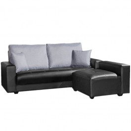 Suede L Shape Sofa Pu Fabric Grey Db