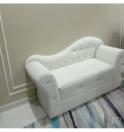 Cassa Isabella Double Arm Chaise Lounge Sofa (PULeather White)