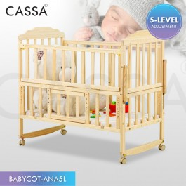 [5 Heights Adjustable] Cassa Cradle Baby Cot Baby Swing Bed Natural Solid Wooden Standing Still with Rollers/Rocking without rollers (Natural Wood Colour)