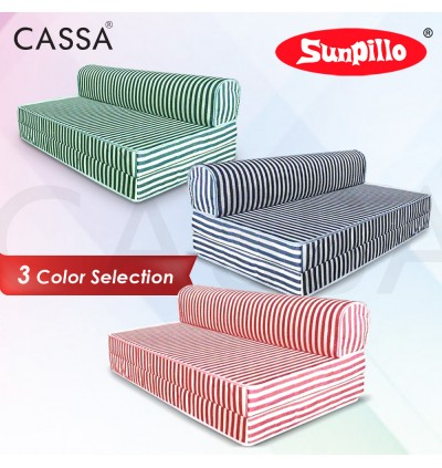 Cassa Mimo Foldable Queen 6 Inch Thick Foam Mattress / 2 Seater Sofa Bed 4 In 1 (Blue/Red/Green Stripe)