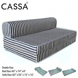 Cassa Mimo Foldable Queen 6 Inch Thick Foam Mattress / 2 Seater Sofa Bed 4 In 1 (Blue Stripe)