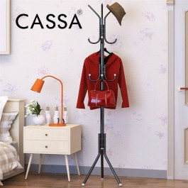 Cassa Edge Coat Hanger Rack Stand 12 Hook Hanging Pole Entryway Hat Purse Display Hall Tree Metal Black/White/Blue/Pink Finish