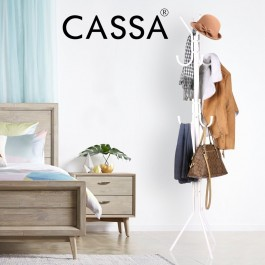 Cassa Edge Coat Hanger Rack Stand 12 Hook Hanging Pole Entryway Hat Purse Display Hall Tree Metal White Finish