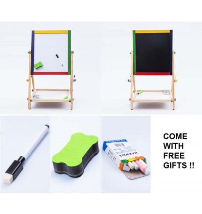 Cassa 2 in 1 Colorful Easel Wooden White and Black Board Drawing Board Series Set with Free Gift