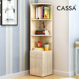 Cassa Corner Book Shelf Book Cabinet Decorative Shelf (Maple/White)