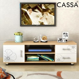 Cassa Harmes 4 Feet TV Cabinet Entertaiment Unit Scandinavian-inspired (Maple/White/Plain Maple)
