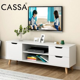 Cassa Lavio 4 Feet TV Cabinet Entertaiment Scandinavian-inspired (Maple/White/Wenge Black)