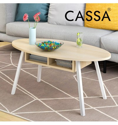 Cassa European Scandinavia Style Oval Coffee Table with open Drawers (Maple/White)