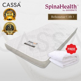 3 Years Warranty Spinalhealth by Goodnite [Advanced Level Super Firm] 4.5 inch I-Foam Single High Quality Compact Rubber Foam Rebond Mattress With Free Protector