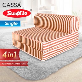 Cassa Nano Foldable Single 6 Inch Thick Foam Mattress / 1 Seater Sofa Bed 4 In 1 (Blue/Red/Green Stripe)