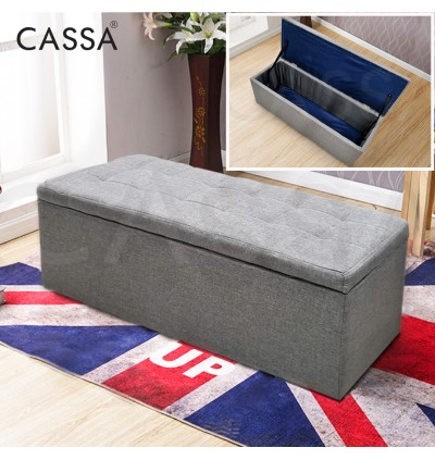 [FREE DELIVERY] Cassa Sky Storage BOX 4 feet 3 Seater Sofa Cushion Bench Chair Ottoman Stool (PU Leather-Brown/PU Leather-Grey/Fabric-Grey)