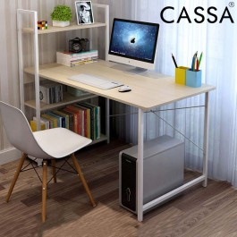 Cassa Maple/White Purplish Desk 120X55CM Office Study Table with Book Shelf 3 Tier