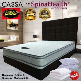 Cassa SpinaHealth by Goodnite Queen/King Firm 8.5 Inches Posture Spring Mattress only(10 year warranty by Goodnite) with Free Mattress Topper Protector and 2 unit Pillow
