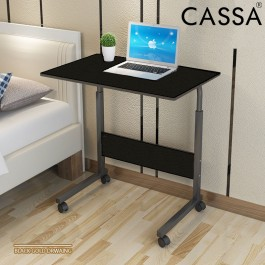 Cassa Sevil Mobile Height-Adjustable Table 60cmX40cm with Wheels Laptop Computer Desk Only (Wenge Black)