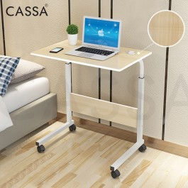 Cassa Sevil Mobile Height-Adjustable Table 60cmX40cm with Wheels Laptop Computer Desk Only (Wenge Black/Maple/White Purplish/Brown/Pink)