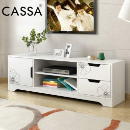Cassa Stinger 4 Feet TV Cabinet Entertaiment Unit Scandinavian-inspired White/Black