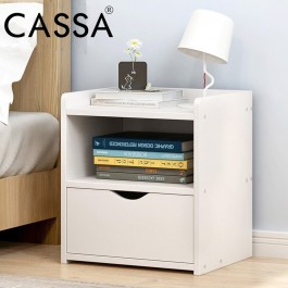 Cassa Mino End Table Modern Nightstand Sofa Side Table with 1-Drawer Storage Chairside Bedside Table for Bedroom Office