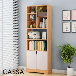 Cassa Acura Shelving Deluxe Bookshelf Display Shelf Bookcase Organizer (White/Maple)