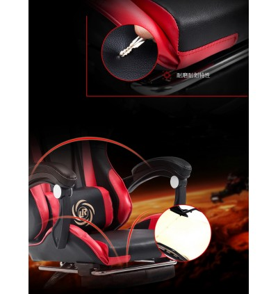 Cassa Back Ergonomic Racing Style Adjustable Gaming Executive Office Chair Black Red + Leg Rest