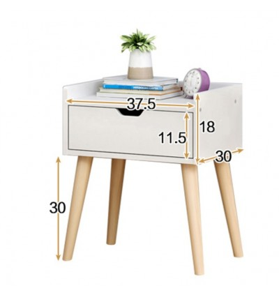 Cassa AFRO Wood End Table Modern Nightstand Sofa SideTable with 1-Drawer Storage Chairside Bedside Table for Bedroom Office