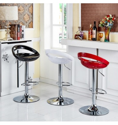 Cassa High Gross Painted Pista Bar Stools 360 Degree Swivel Adjustable (Red) Set of 2 Unit