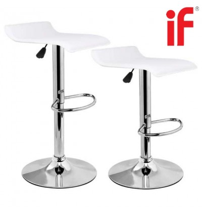 Cassa Premium Simple Flat Modern 360 Degree Swivel Height Adjustable Bar Stools set of 2unit (Black/White)