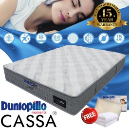 [SPECIAL LIMITED OFFER - Buy 1 Free 5 Items] Dunlopillo CoolSilk Espirit Talalay Latex Comfort Layer 3 Zones Pocketed Spring King/Queen Mattress