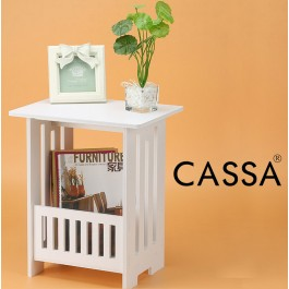 Cassa Lutto Coffee Magazine Round End Side Table White 34x26CM