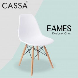 Cassa Eames Chair White/Black Seat Natural Wood Legs