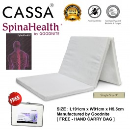 [FREE HAND CARRY BAG] Cassa Goodnite SpinaHealth 2 Inches Thick Single Foldable Premium Quality Rebonded Foam Mattress