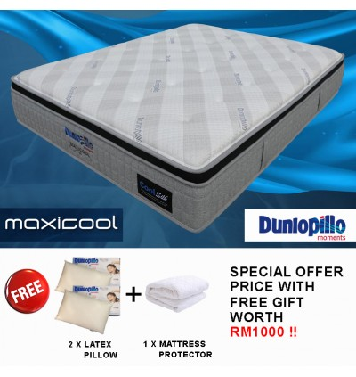 FREE SHIPPING + [SPECIAL LIMITED OFFER - Buy 1 Free 3 Items] Dunlopillo MaxiCool [Upgraded with Cool Gel Memory Foam] StatFree TenseFree CoolSilk Talalay Latex Comfort Layer 3 Zones Pocketed Spring King/Queen Mattress