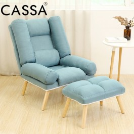 Cassa Suzuki Single Sofa Fabric Tatami Chair Foldable Adjustable Backrest + Fully Washable Fabric Arm Wing Lounge Lazy Chair