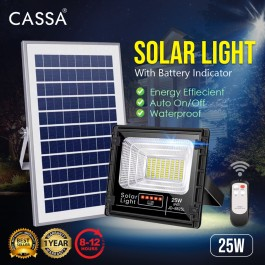 Cassa Hi Quality Led Solar [25W] Tempered Glass IP67 Waterproof Outdoor Spotlight Floodlight Fast Charging [ A-Level Solar Panel ] Usage Up to 8-12Hours Come with 180 Degree Rotation Bracket (1 Year Warranty) - Solar Green Renewable Energy Saving Lighting